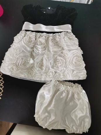 Komplet dla dziewczynki - sukienka + spodenki / chrzest komunia