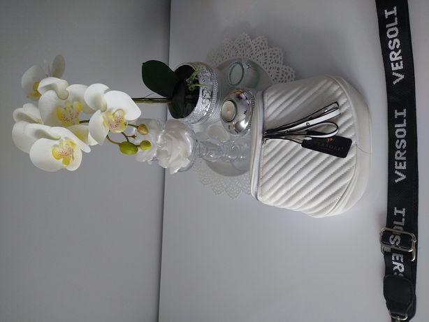 Torebka biała/nowa z logowanym paskiem