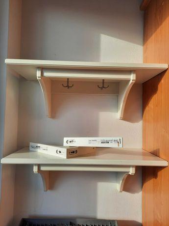 półka wisząca biała 2 sztuki plus dwa wsporniki
