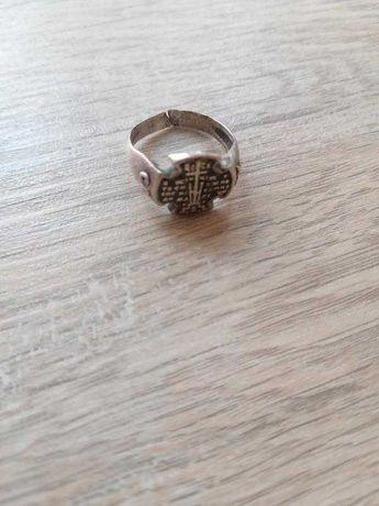 Перстень серебро чернение православный крест 925