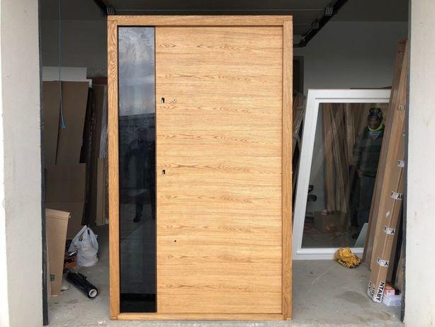 Drzwi zewnętrzne ryflowane 8,5cm bezprzylgowe