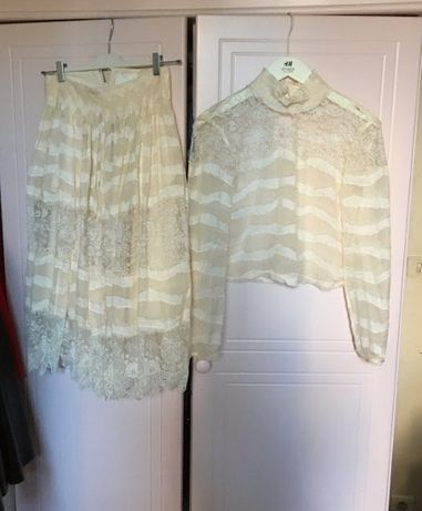 Conscious Exclusive hm h&m komplet bluzka spódnica S jedwabna ecru