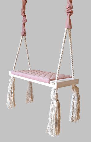Huśtawka dla dzieci domowa, drewniana zabawka dziecięca, szara, różowa