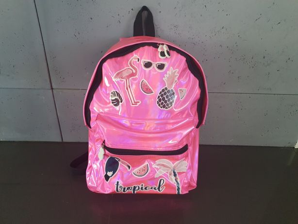 Plecak szkolny HOLOGRAFICZNY - kolor różowy