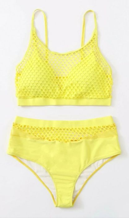 Bikini żółte, stroj kąpielowy dwuczęściowy plus size XXL żółty, siatka Kłobuck - image 1