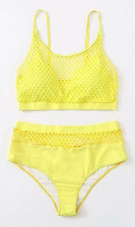 Bikini żółte, stroj kąpielowy dwuczęściowy plus size XXL żółty, siatka