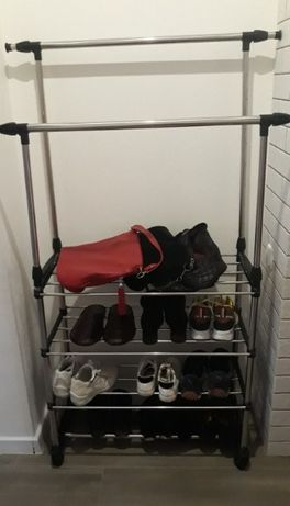 Телескопическая вешалка для одежды с полками для обуви и ящиков