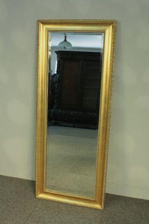 Stylowe Lustro w Złotej Ramie-134x 54 ze Szlifem