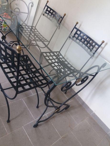 Stół metalowy ze szklanym blatem+ 4 krzesła metalowe