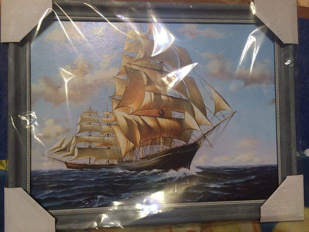 Картина.Корабли в море.Размер 45x30
