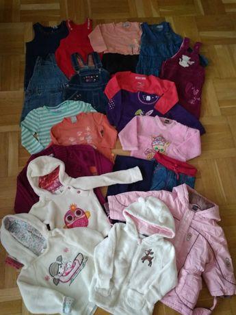 Paka ubrań jesień zima 86/92 kurtka zimowa, bluzy, spodnie, sukienki
