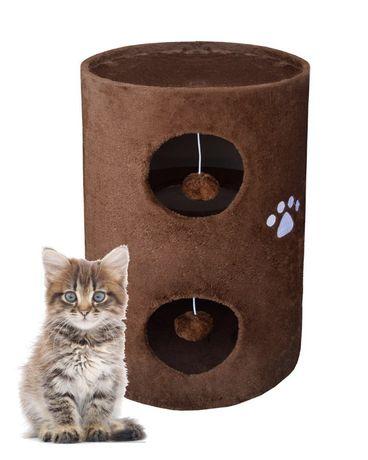 17028 Drapak dla kota z legowiskiem w kształcie tuby 58cm brązowy