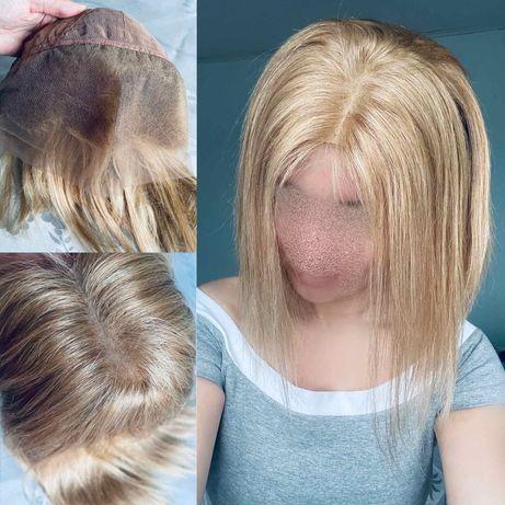 Натуральный парик большая система кожи славянский волос блонд пшеница