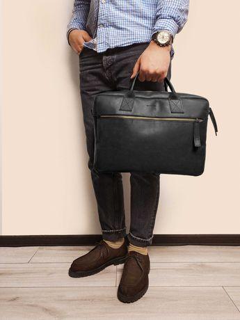 Мужская кожаная сумка Mr.Dzyadik Tommy Черная