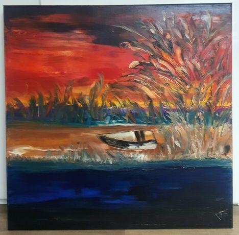 PEJZAŻ Z ŁÓDKĄ  obraz olejny duży 80x80 KatarzynaArt