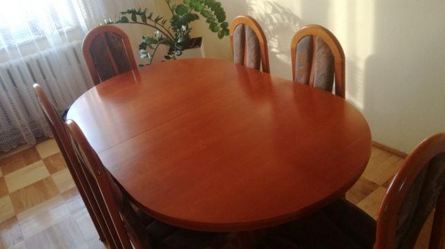 Stół i krzesła 6 krzeseł salon solidny elegancki rozkładany 170-250cm