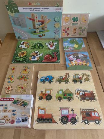 Zabawki drewniane auta zjeżdżalnia puzzle domino ukladanki