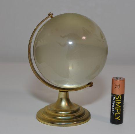 НАСТОЛЬНЫЙ сувенир глобус металл стекло декор крутится золотистый 11с