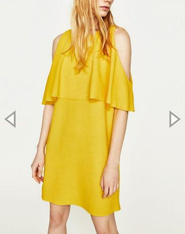 Платье Mango M S L желтое солнечное яркое с воланами zara