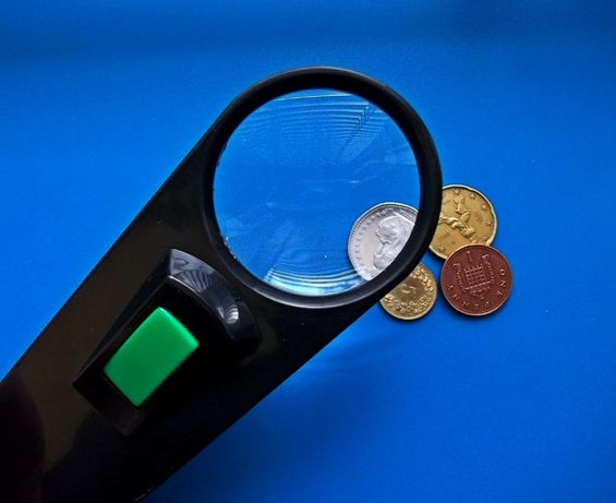 Увелечительн Стекло Лупа подсветка для монет марок чтения