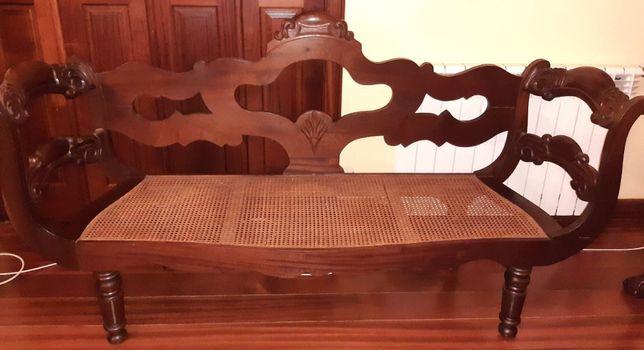 Canapé Antigo Madeira Exótica e Palhinha como Novo