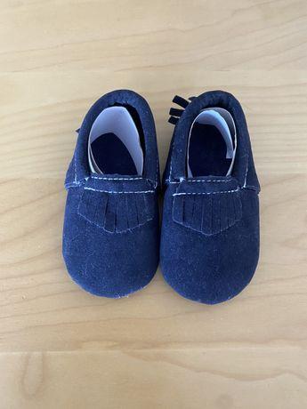 Mocassim bebe menino azul camurca