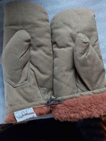 Rękawiczki jednopalczaste+ skórzane PRL