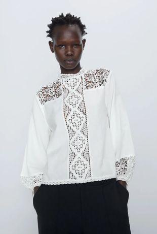 Белая блуза рубашка с кружевом от zara хлопок и лён
