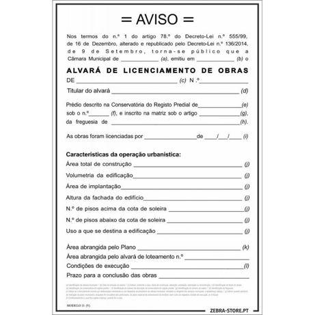 Placa Licenciamento de Obras vertical 1200X800mm PVC alveolar esp 3.5m
