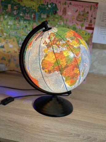 Глобс географический с подсветкой ночник