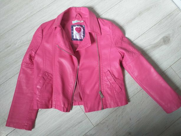 Różowa ramoneska dziewczęca eco skóra r 128