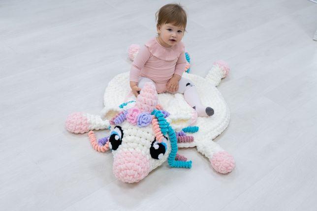 Детский коврик - игрушка, единорог, вязаный плюшевый коврик
