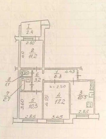Продам 3к 2 этаж/9 этажного дома, 63,4 м2 на Победе-6
