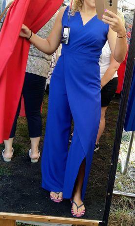 Kombinezon Sukienka Maxi Adrianno Damianii rozmiar 40 Kobaltowy chaber