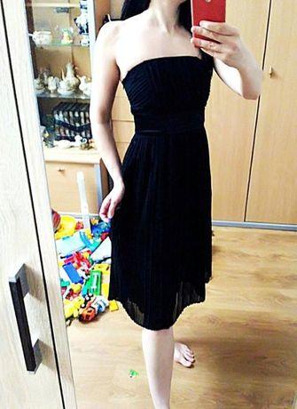 Черное платье бюстье шифоновое