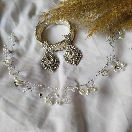 Свадебные украшения, украшение для волос, серьги, браслет. Свадьба