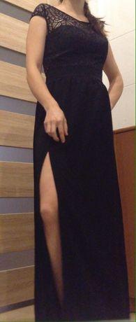 Sukienka studniówka maxi długa elegancka koronkowa plecy rozcięcie XS