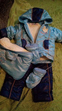 Куртка полукомбинезон конверт овчина  и рукавички Польша