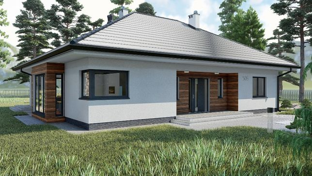 Projekt domu parterowego 128 m2, projekt typowy, gotowy