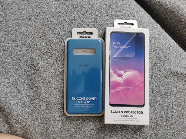 Oryginalne niebieskie etui Samsung S10/oryginalna folia