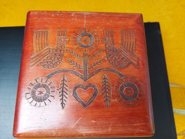 Duże drewniane pudełku Cepelia PRL