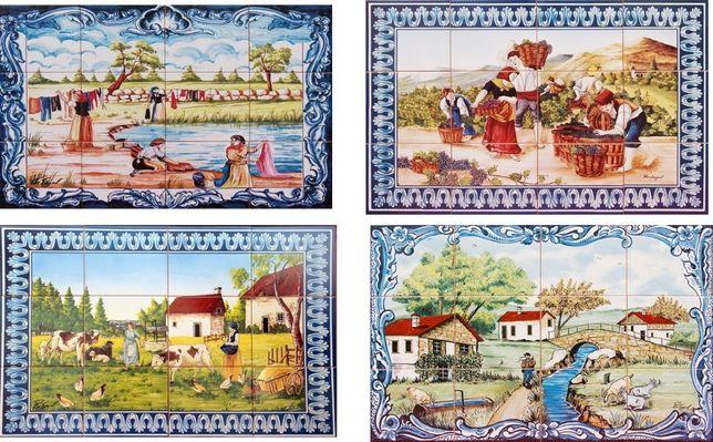 Painéis de Azulejos Paisagens Alentejo Vindimas Douro Moinhos 60X45cm