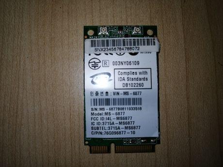 Wireless WiFi MSI MN54G Mini Card - IEEE 802.11b/g