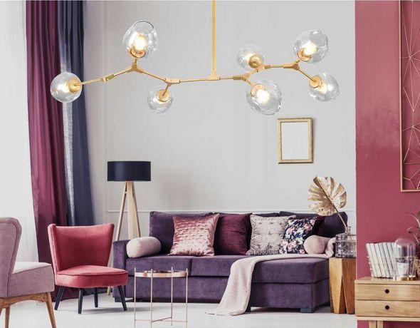 LAMPA sufitowa Glamour ZŁOTA GOLD szklane KULE 7xE27