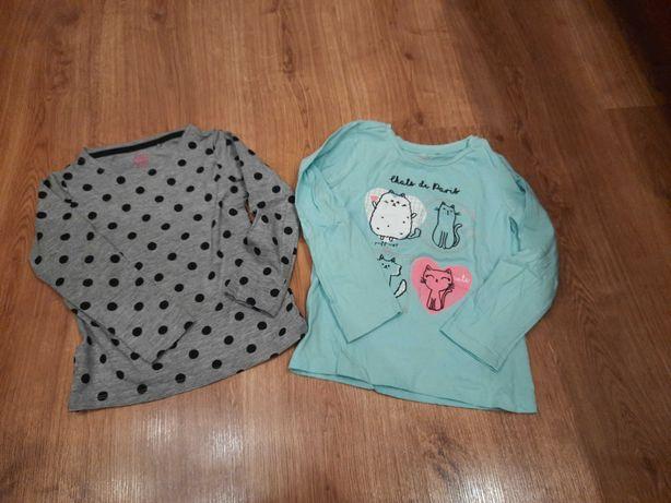 2 Bluzeczki tshirt dziewczęce z metki 110