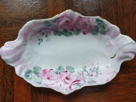 Pequeno prato taça decorativo LIMOGES pintado à mão com flores