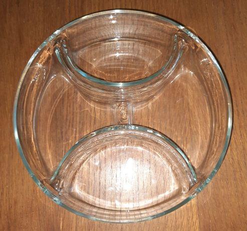 Nietypowa, dekoracyjna miska szklana, dzielona na 4 części, z Niemiec