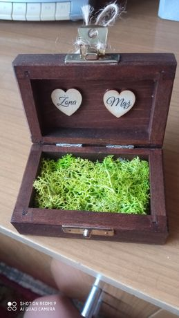 Pudełko szkatułka na obrączki mech boho