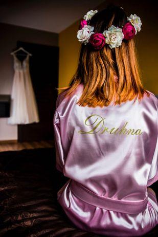 Szlafrok ślubny satynowy druhna xs/s różowy weselny