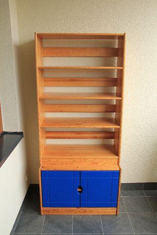 Regał drewniany, sosnowy, półki, szafka